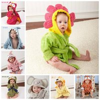 Wholesale Kids Animal Bathrobe Toddler Girl Boy Baby Cartoon Pattern Towel Hooded Bath Towel Terry Wrap Bath Robes Swaddle Blanket Washcloths F202