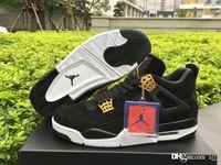 Compra 4s retro jordan-De alta calidad de aire RR Jordan 4s retro IV 4 de derechos de gamuza negro y zapatos de baloncesto de oro con caja original