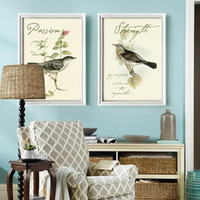 Wholesale Bird Animal Wall Art Painting Landscape Artwork Printed on Canvas with White Black Wood Frame for Dining Room Decor