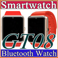Wholesale 30X GT08 Bluetooth SmartWatch with SIM Card Slot and TF Health Watchs for Android Samsung and IOS iphone Smartphone Bracelet Smartwatch C BS