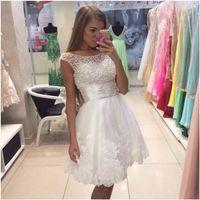 Wholesale Cap Sleeve Pearl Beaded Top Short Graduation Dresses Lace Applique White Short Party Dress Prom Gowns
