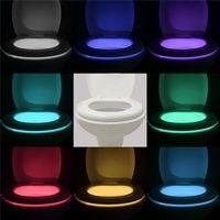 Wholesale Hotest Toilet Nightlight Home Toliet Bathroom Human Body Auto Motion Activated Sensor Seat Light Night Lamp Colors