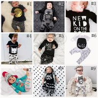 Wholesale Baby Ins Clothing Sets Kids Baby Boys Girls Outfits Clothes T shirt Tops Pants Summer Outfits Batman Letter T Shirts Pants Set OOA1146