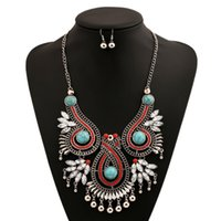Wholesale 2016 Ethnic Colorful Gemstones Alloy Pendant Gothic Statement Collar Chokers Necklace And Earrings Set Women Top Grade Fine Jewelry