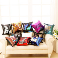 Wholesale Cushion Cover Pillowcase Reversible Sequin Mermaid Sequin Pillow Magical Color Changing Throw decor Pillow Cover Pillowcase