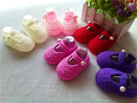 crochet baby shoes wholesale - Hot Sale Crochet Baby boy Sandals Summer Handmade Crochet Baby Shoes size M Many Color