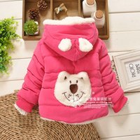 babies greatcoat - 2016 Winter Baby Girl Clothing Cartoon Cute Animal CHildren Coat Greatcoat Cotton Hoodies Children Warm Coats