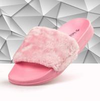 Wholesale baby kids Rihanna Slippers Leadcat islike Rihanna Shoes Women Slippers Indoor Sandals Girls Fashion Scuffs Pink Black White Grey Fur Slides