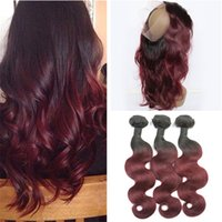 Wholesale Brazilian Ombre Body Wave Hair Bundles With Pre Plucked Lace Frontal Closure B J Burgundy Ombre Virgin Hair With Frontals