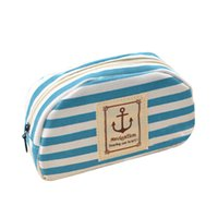 anchor storage bag - Colors Canvas Zipper Anchor Strip Print Pen Bags Makeup Brush Bags Stationery Storage For School Girl Pencil Case