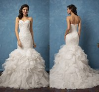 Wholesale Custom Made Sweetheart Elegant Wedding Dresses Full Lace Appliques Sexy Zipper Back Bridal Gowns Tiered Organza Gown Long Sweep Train