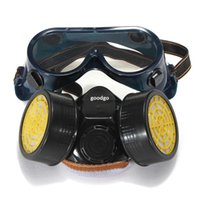 Wholesale Freeshipping Dual Anti Dust Spray Paint Industrial Chemical Gas Respirator Mask Glasses Set Black
