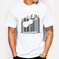 barcode shorts - Newest Fashion Creative Barcode Design T shirt Men T shirt Harajuku Music Tee Shirt Men s Funny Tshirt Short Sleeve Tops