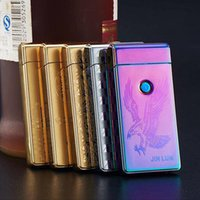 Wholesale 2017 Styles USB Lighters For Cigarettes Rechargeable Flameless Electric Double Arc Windproof Cigarette Lighters DHL LTR004