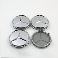 Wholesale MERCEDES SET OF SILVER CENTER WHEEL HUB CAPS MM COVER CHROME EMBLEM CAP LOGO