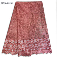 Wholesale High Quality African Lace Fabric For Wedding Embroidered France red Blue mesh Lace Fabric speach color nigerian Guipure Cord Lace D701AJK09