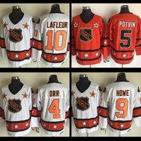 al por mayor chico de la vendimia-Caliente 1980 Jersey de la vuelta de los hombres de All Star Jersey # 9 Gordie Howe nhl jersey # 10 Guy Lafleur # 5 Denis Potvin # 4 jerseys del hockey del vintage de Bobby Orr