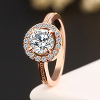 Wholesale CZ Diamond Fashion K Rose Gold plated Engagement Wedding Crystal Cubic Zirconia Ring Jewelry Valentine s Day Gift