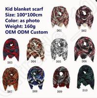 Wholesale Soft Winter Mufflers - Kids Plaid Scarf 100*100cm Winter Warm Grid Soft Imitation Cashmere Tartan Blanket Children Wrap Girls Boys Neck Muffler OOA921