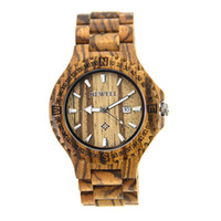 Wholesale BEWELL ZS W023A Male Wood Quartz Wrist Watch Unique Gear Shape Date Watch with Calendar Display Wooden Bangle Quartz