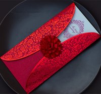 Wholesale New Red Elegant Flower Wedding Invitations D Laser cut Invitation Card with Envelope seal