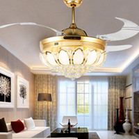 Wholesale Modern Crystal Ceiling Fan Inch Invisible Blades LED Folding Ceiling Fans Light Chandeliers Living Room Dining Room Lamp Remote Control