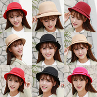beach fedoras - Autumn Winter Warm Fashion Dome Fedora ladies Wool Hat Women Hats Vintage Retro Bowler Fedoras Caps
