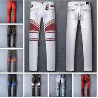Long best biker - Fashion Robin Zipper Jeans for Men Best Biker Wash Studded Cowboy Slim Denim Trousers with Wings American Flag Jean Mens Skinny Pants