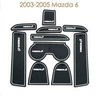 Blue auto rubber carpet - For Mazda to Door Carpet Car cup Mats Sticker Auto Non Slip Mat Gate Slot Pad Rubber Mat set Car Styling Accessory