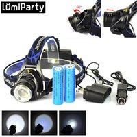 Grossiste- 5000LM XM-L T6 LED Headlamp tête de la lampe torche de la lampe Zoomable Spotlight pour la caméra de chasse de la batterie 18650 EU + Chargeur de voiture
