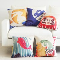 Woven art pillows - Japanese traditional national art patterns lucky cat big splash around carp decorative throw pillow case cotton linen chair cushion for sofa