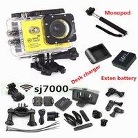 battery cam - SJ7000 INCH LCD WIFI Action Camera Full HD P Degree Lens Underwater M Mini cam recorder Extra battery Monopod