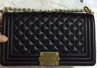 Wholesale Factory Top quality Black Lambskin Flap Bag Women Genuine Leather Messenger Bag Single Shoulder Bag w Aged Silver or gold Hardware