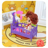 Girls accessories wind chimes - Kid sDoll Accessories Mini Plastic Toys Doll Shaker Doll Bed Doll with Wind chime Bed Toys For Dolls