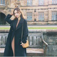 Wholesale 2017 custom New women s clothing han edition temperament paragraph two color coat grows double breasted coat
