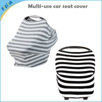 Wholesale 4 in Multi Function Fashion Blend Kniting Stretchy Stripe Baby Nursing Canopy Breathable Car Seat Cover