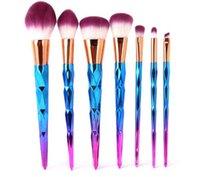 Wholesale 7pcs set Rainbow Hair Diamond Cosmetic Makeup Brushes Set Foundation Eye shadow Blusher Powder Unicorn Blending Make up Brush