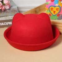 Wholesale 2016 lovely children Korean cat ear Wool Hat Lady curling hat cap dome bear other parent child tide