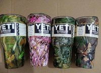 Wholesale 4 Colors Camouflage Camo YETI oz Cups Cooler Stainless Steel Rambler Tumbler Cup Car Vehicle Beer Mugs Vacuum Insulated