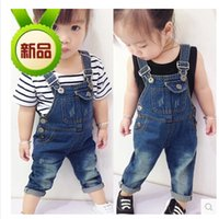 Wholesale Children s clothes girls autumn wear suspenders trousers boy from years old baby can open children s jeans