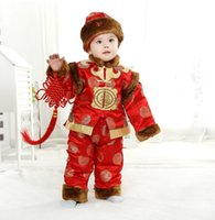 Wholesale Tang Suit Boys Plush padded Suits Baby New Year In Clothes Full Moon Fall Winter Clothing Children Wear Package Mail