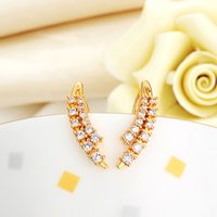 Wholesale New arrival K gold Plated embed zircon fashion earring with banana shaped gift jewelry
