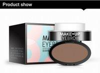 Wholesale 2017 Brand Eyes Makeup Brow Stamp Seal Eyebrow Powder Waterproof Grey Brown Eye Brow Powder with Eyebrow Stencils Brush Tools