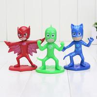 Wholesale 3pcs set cm PJ Masks Toy Set Mini Figure Doll for Boys Girls toy Catboy Owlet Gekko Cape Gift Pj Masks Party