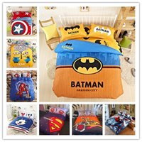 Wholesale Cartoon d Bedding Set Minions Mickey Mouse Spiderman ironman bumblebee captain batman Printed for Duvet Cover Bed Sheet Pillowcases