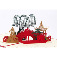 Wholesale New Creative D Decoupage Greeting Carved Chinese National Characteristics Memorial Bridges Tanabata Greeting Card