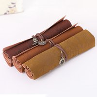 Wholesale Hot Sale Retro Pirate Treasure Map Roll Up PU Leather Pen Pencil Case Bags Make Up Holder CKO