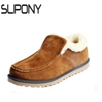 ankle test - Hot test Men s Designer Boot Winter Man Snow With Plush Shoes For Male Slip On Low Cotton padded Warm Flats