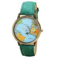 battery plane - Women Dress Watches Fashion Global Travel By Plane Map Denim Fabric Band Watch Women Colors LSIN