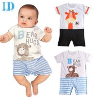 baby boy coverall - IDGIRL Infant Baby Clothes Baby Boy Cartoon Rompers Short Sleeve Striped Bear Character Printed Jumpsuit Coverall JY0273